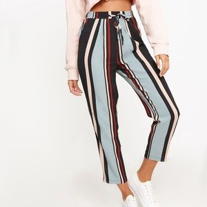 NWT! Prettylittlething Blue Stripe Casual Trousers